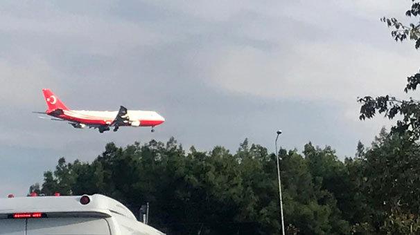 O uçak, test uçuşu için Antalya'da